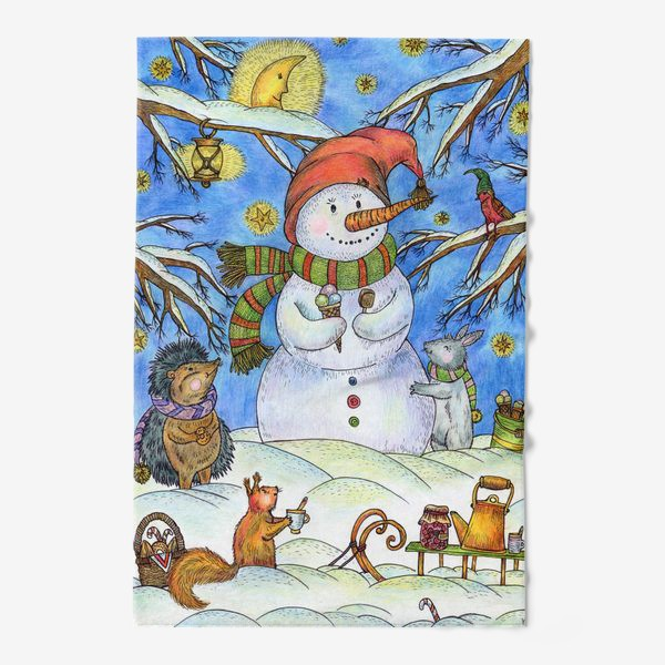 Полотенце «Веселый снеговик»