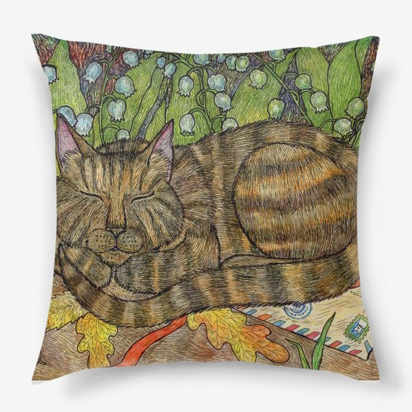 Подушка «Кошка и цветы ландыши»