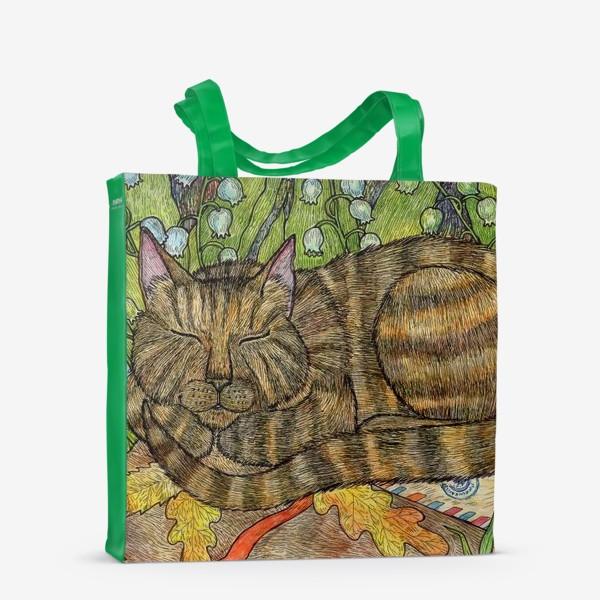 Сумка-шоппер «Кошка и цветы ландыши»