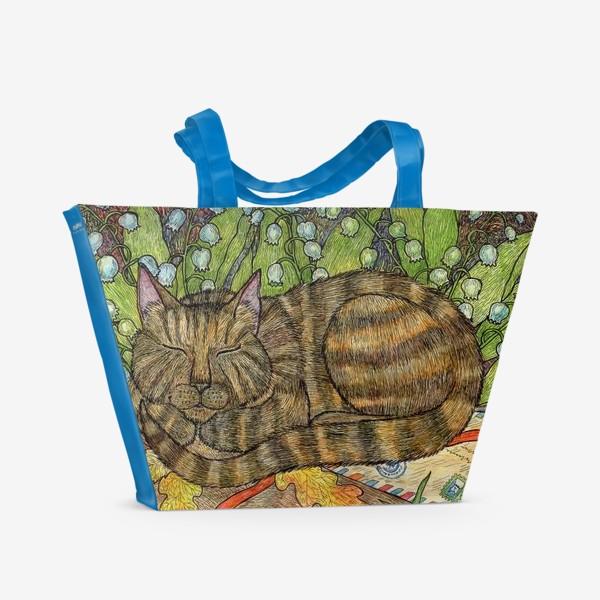 Пляжная сумка «Кошка и цветы ландыши»