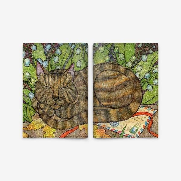 Обложка для паспорта «Кошка и цветы ландыши»