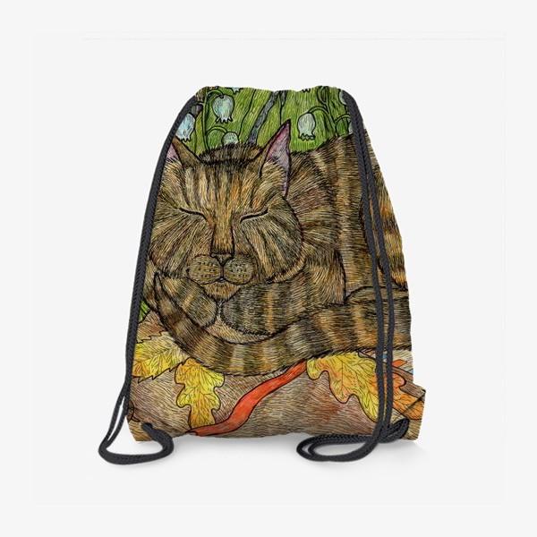 Рюкзак «Кошка и цветы ландыши»