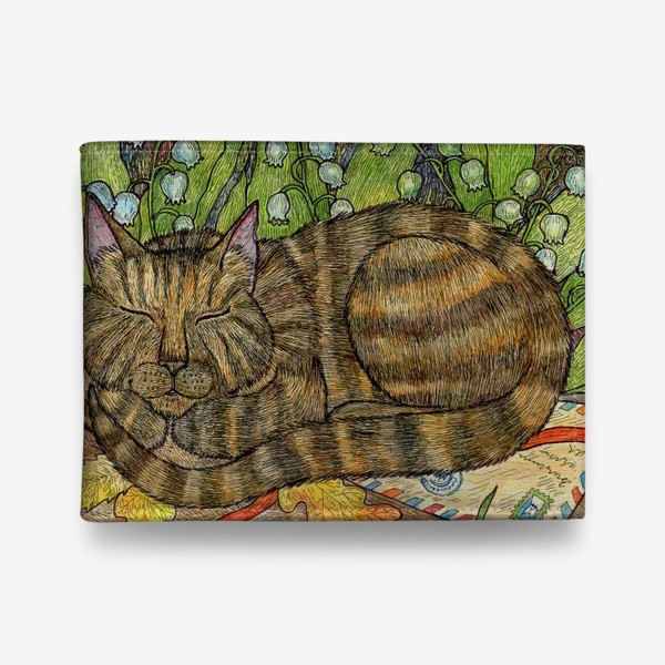 Кошелек «Кошка и цветы ландыши»