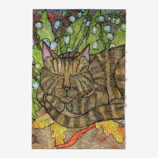 Полотенце «Кошка и цветы ландыши»