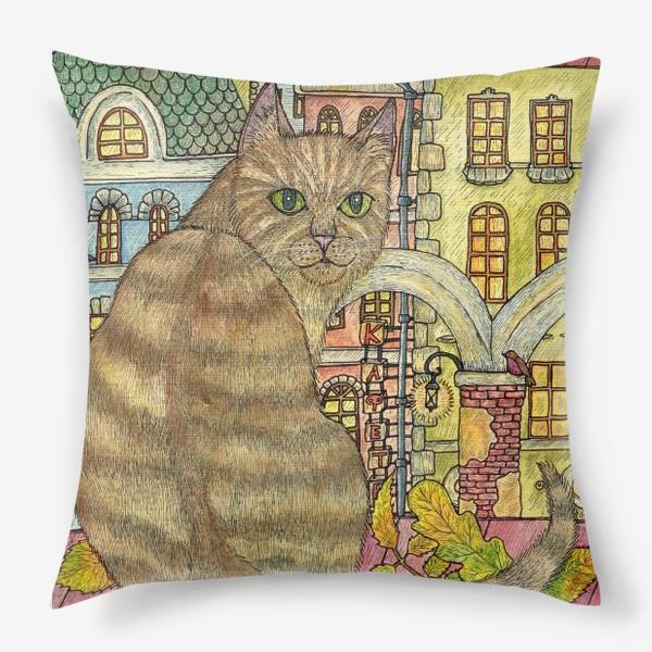 Подушка «Кот и осень в старом городе»