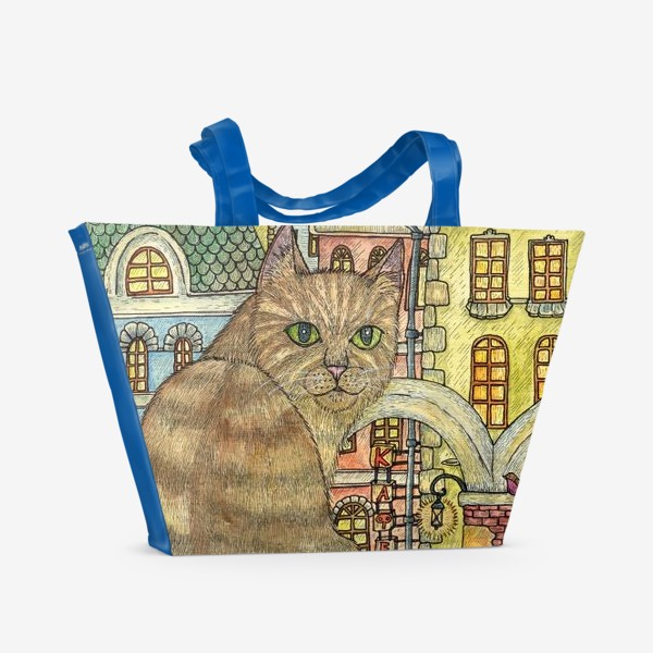 Пляжная сумка «Кот и осень в старом городе»