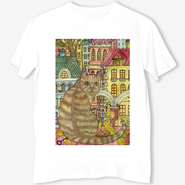 Футболка «Кот и осень в старом городе»