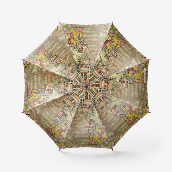 Зонт «Кот и осень в старом городе»