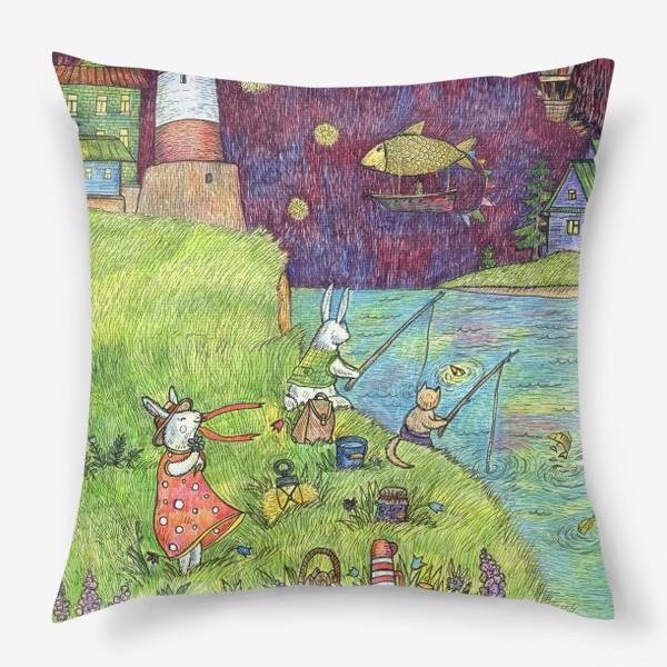 Подушка «Ночная рыбалка Зайцев»