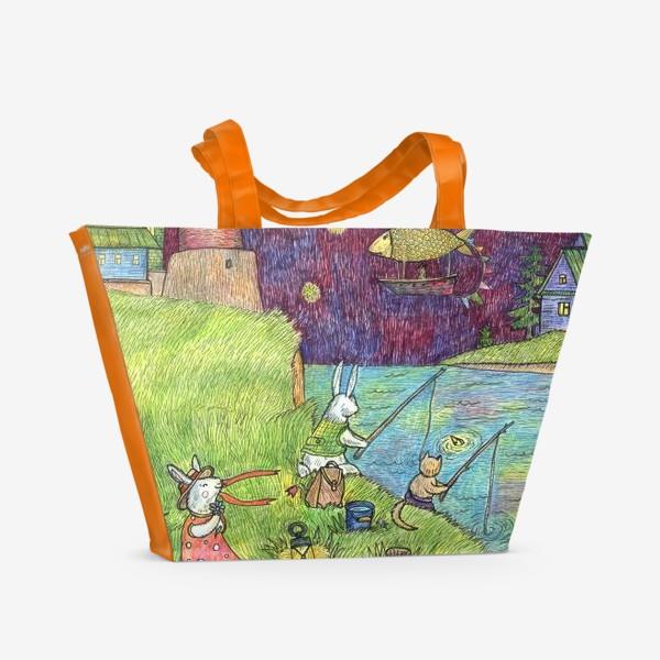 Пляжная сумка «Ночная рыбалка Зайцев»