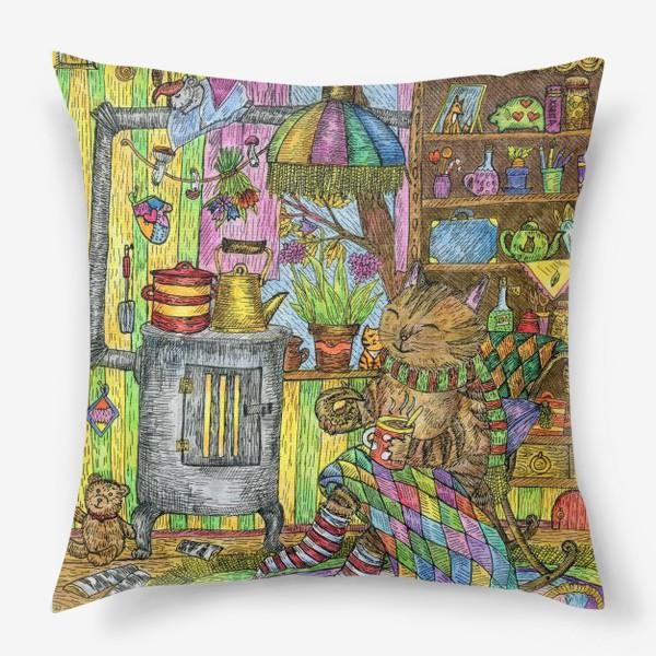 Подушка «Уютная осень у кота в избушке»