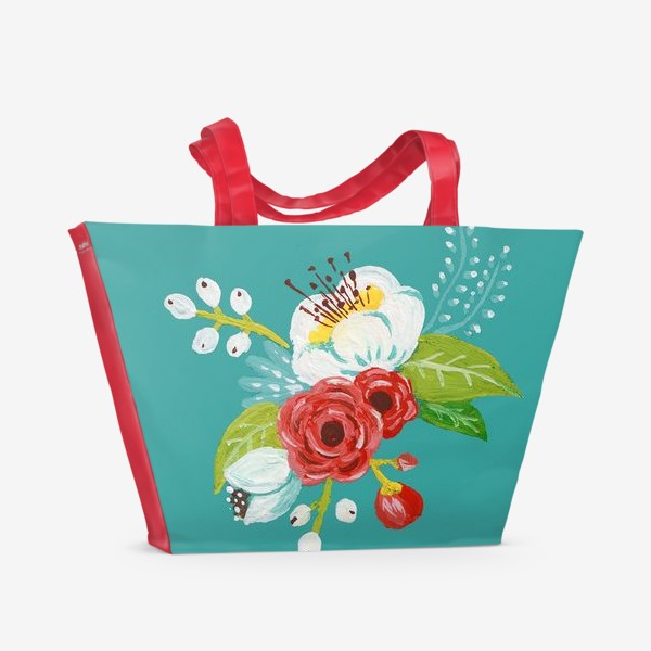 Пляжная сумка «Цветочный узор на бирюзовом»