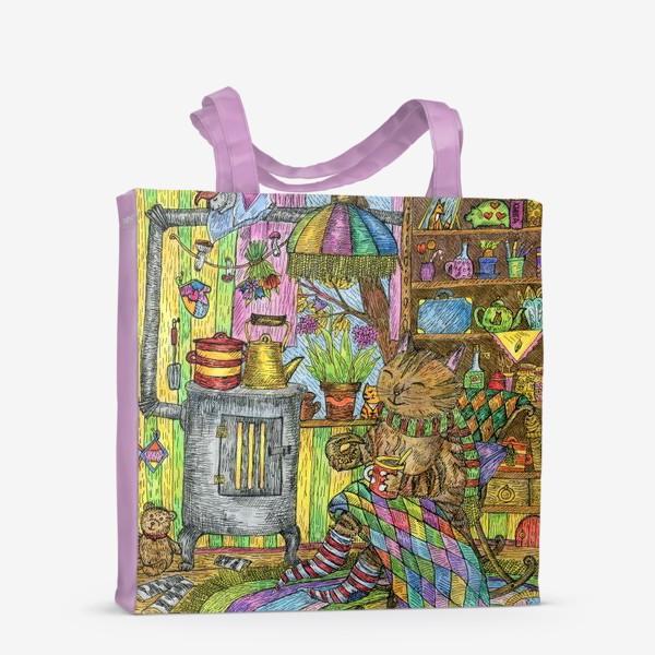 Сумка-шоппер «Уютная осень у кота в избушке»