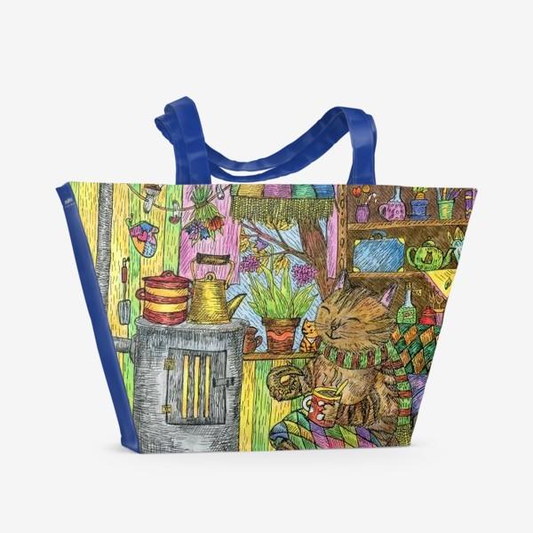 Пляжная сумка «Уютная осень у кота в избушке»
