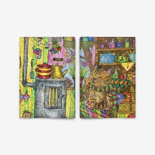Обложка для паспорта «Уютная осень у кота в избушке»