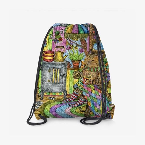 Рюкзак «Уютная осень у кота в избушке»