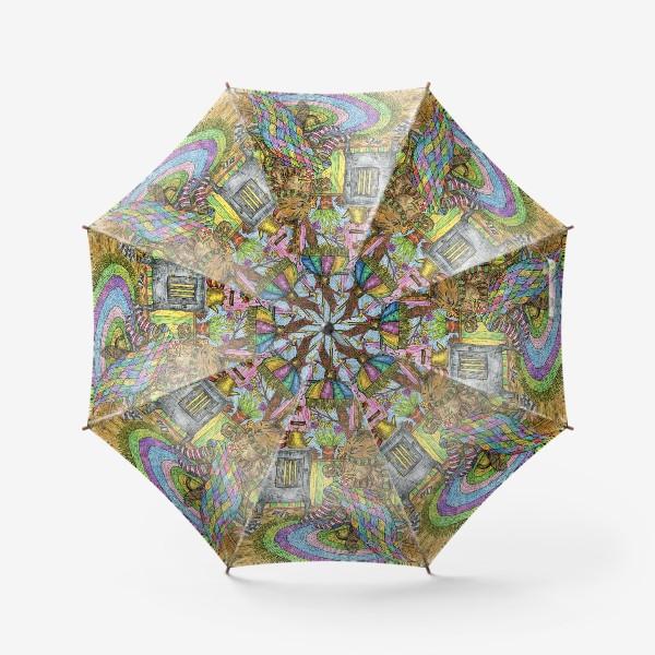 Зонт «Уютная осень у кота в избушке»