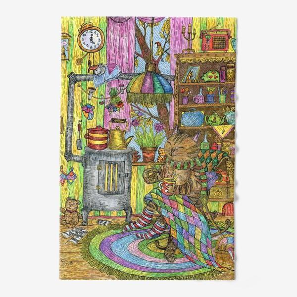 Полотенце «Уютная осень у кота в избушке»