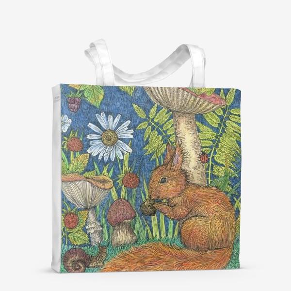 Сумка-шоппер «Белка и грибы»