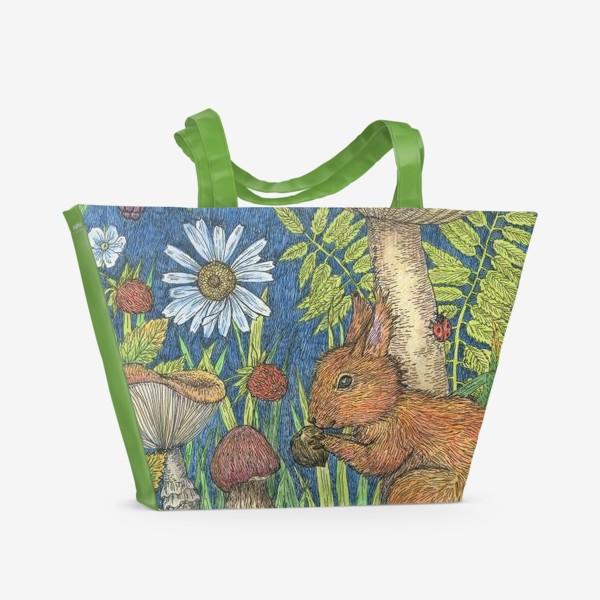Пляжная сумка «Белка и грибы»