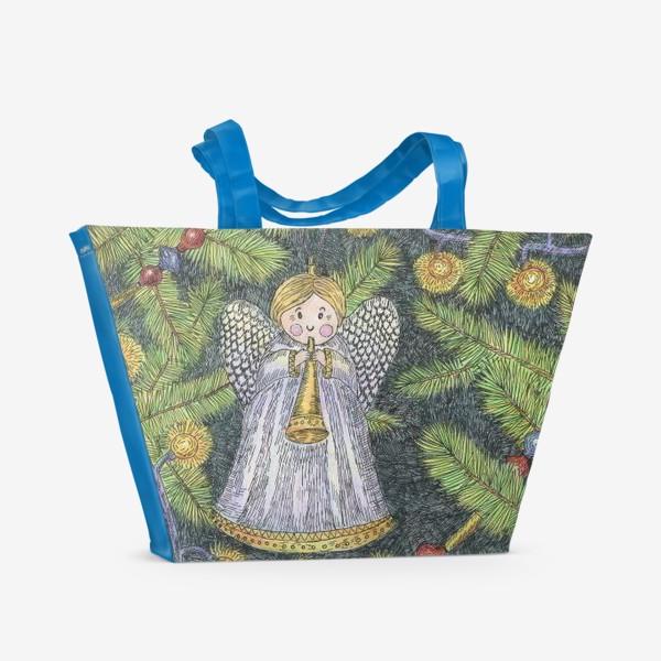 Пляжная сумка «Винтажные елочные игрушки на елке»