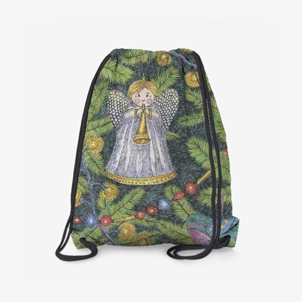 Рюкзак «Винтажные елочные игрушки на елке»