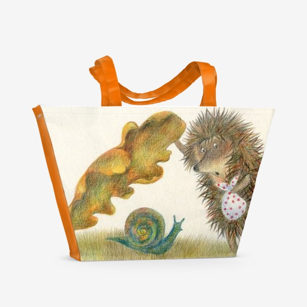 Пляжная сумка «Ежик в тумане, листок и улитка»