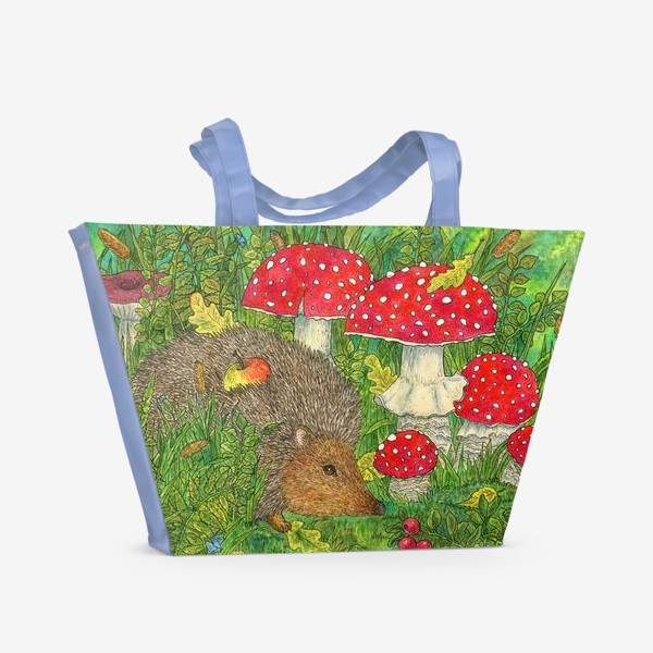 Пляжная сумка «Маленький ежик в лесу среди мухоморов»