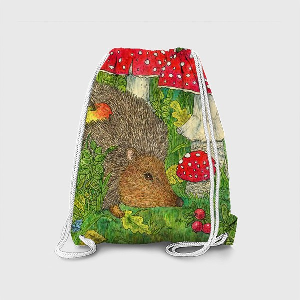Рюкзак «Маленький ежик в лесу среди мухоморов»