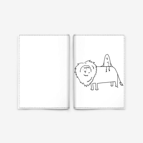 Обложка для паспорта «Лев везет птичку. Везучая птичка»