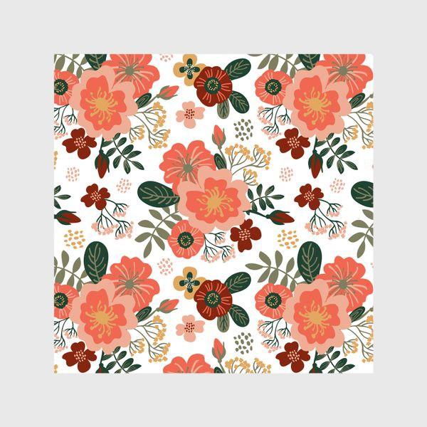 Шторы «Красивые стилизованные розовые цветы на белом фоне»