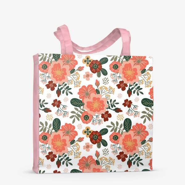 Сумка-шоппер «Красивые стилизованные розовые цветы на белом фоне»