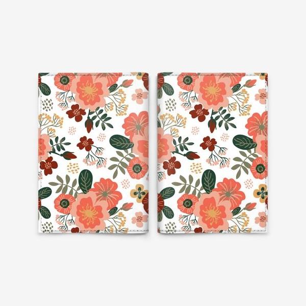 Обложка для паспорта «Красивые стилизованные розовые цветы на белом фоне»