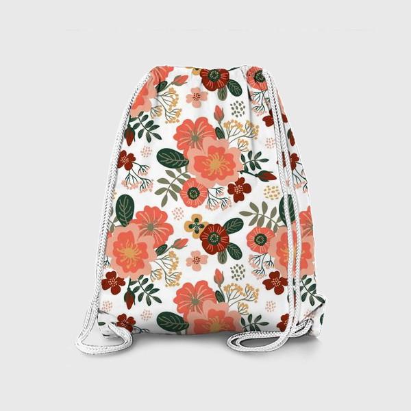 Рюкзак «Красивые стилизованные розовые цветы на белом фоне»