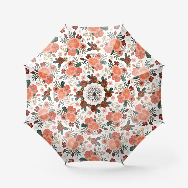 Зонт «Красивые стилизованные розовые цветы на белом фоне»