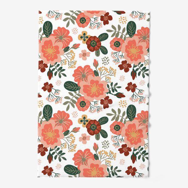 Полотенце «Красивые стилизованные розовые цветы на белом фоне»