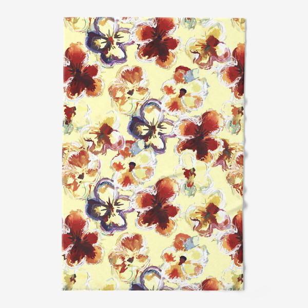 Полотенце «Цветы. Анютины глазки акварелью.»