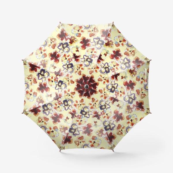 Зонт «Цветы. Анютины глазки акварелью.»