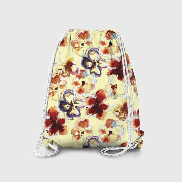 Рюкзак «Цветы. Анютины глазки акварелью.»