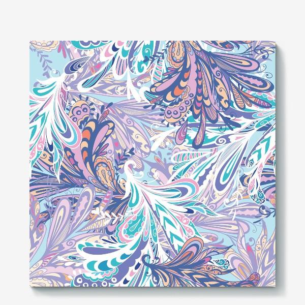 Холст «Абстрактные узоры в синей гамме»