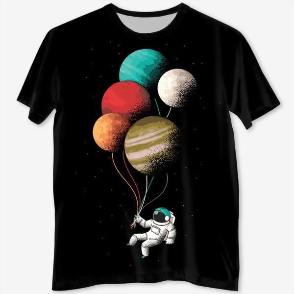 Футболка с полной запечаткой «Астронавт с шариками»