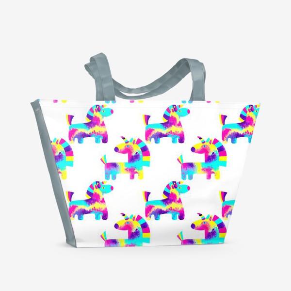 Пляжная сумка «Паттерн радужные единороги»