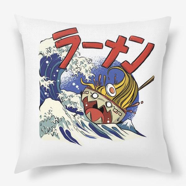 Подушка «Большая Волна в Канагаве и Рамен»