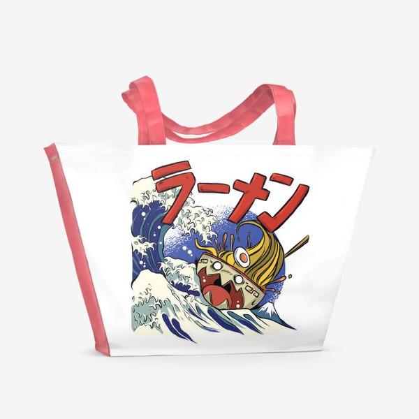 Пляжная сумка «Большая Волна в Канагаве и Рамен»