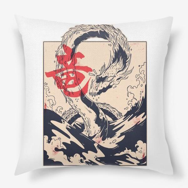 Подушка «Морской дракон в японском стиле»