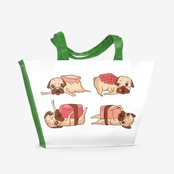 Пляжная сумка «Суши Мопсы»
