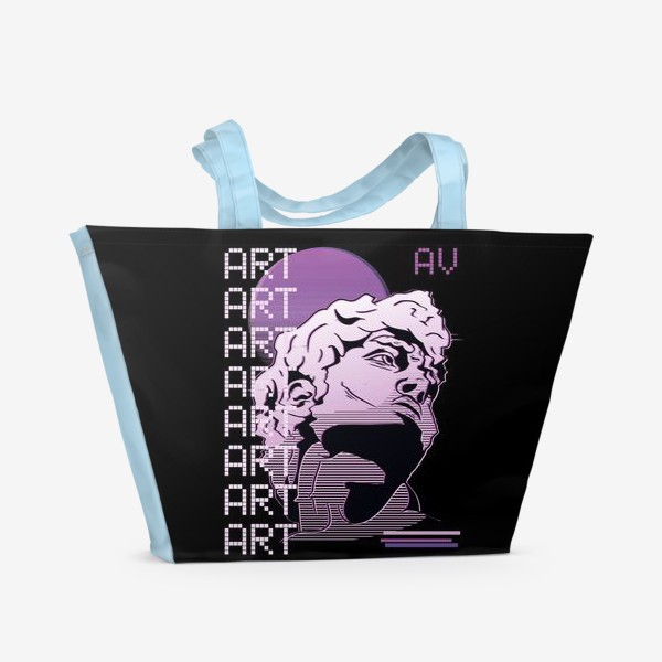 Пляжная сумка «Статуя Давида в стиле Vaporwave »