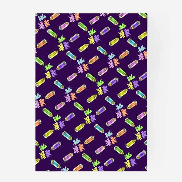 Постер «Цветные карандаши (фиолетовый фон)»