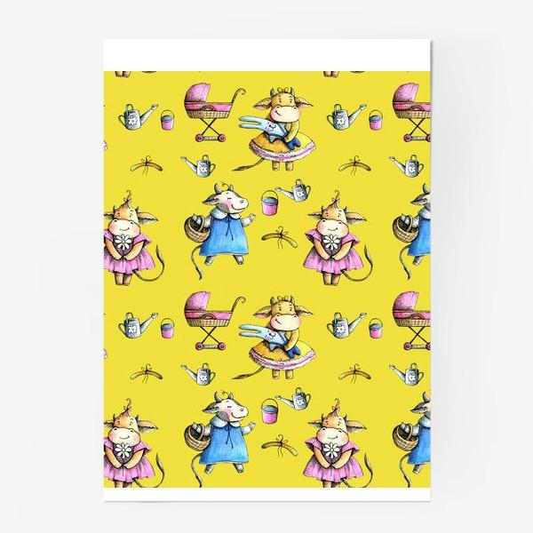 Постер «Коровки на желтом»