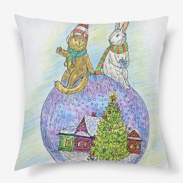 Подушка «Кот и заяц на новогоднем шаре»